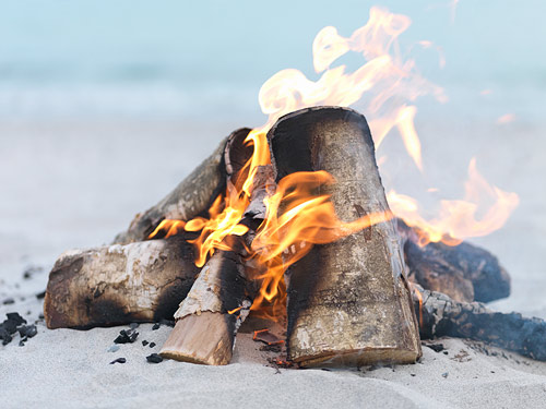 A Bonfire on the Beach
